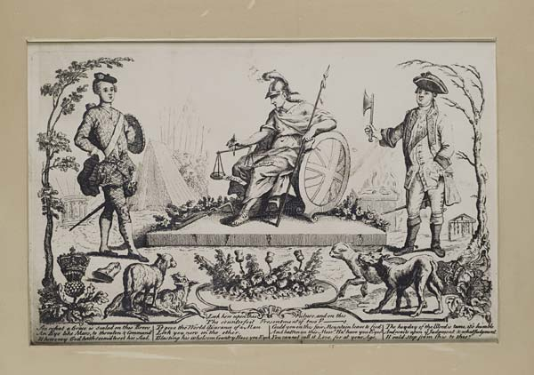 Britannia sitting between Prince Charles and Cumberland weighing Mercy and Butchery_pro-Jacobite propaganda_Jacobite Prints Online